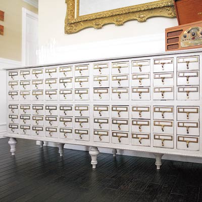 card catalog salvaged into serving station
