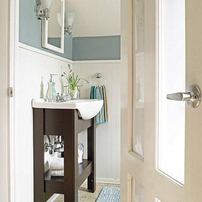 remodeled bathroom with glass paneled door