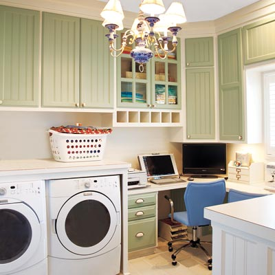 how to create an office in a laundry room at the picket