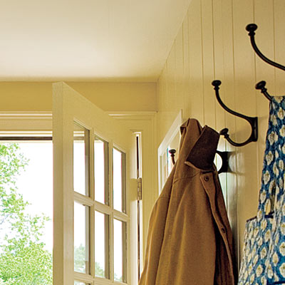 mudroom with oversize hooks