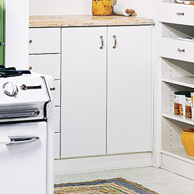 sunny nook pantry with closed cabinets