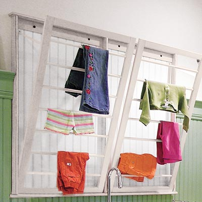 bright and spacious laundry room with air drying station