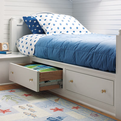 Deep Drawers With Soft Close Glides Hold Clothes And Linens The Built In Bedside Table Hides Ductwork A Mirror Image Bedroom Occupies Space At
