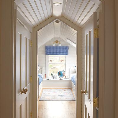kids bedroom suite with vaulted ceilings