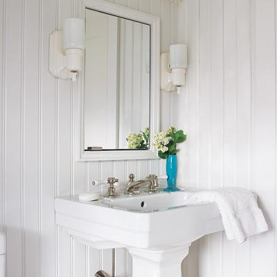 kids bathroom with pedestal sink