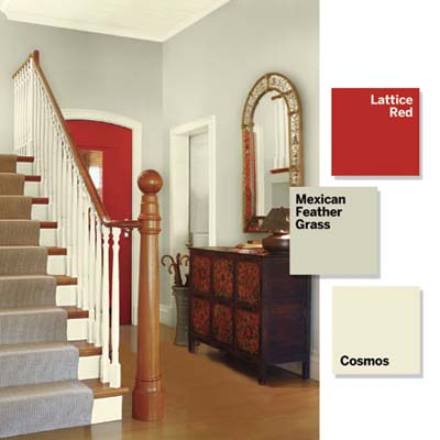 Foyer Chandeliers on Entry Foyer  Add A Single Accent   3 Small Spaces  9 Bold Color Ideas