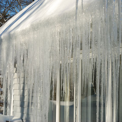 icicles hanging off of roof