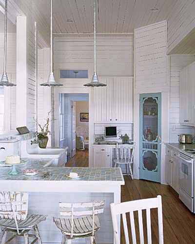 Sun-Bleached Blue and White | Brilliant Interior Paint | Photos | Painting | This Old House :  space kitchen white washed vintage