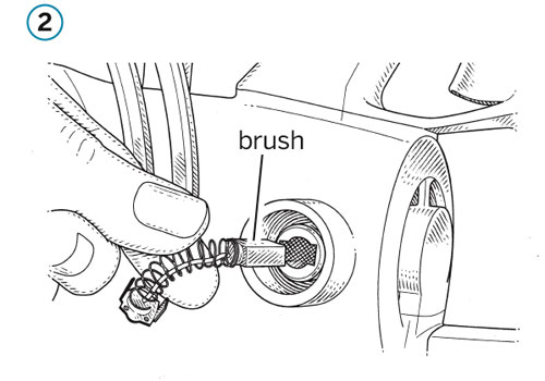 pull out power tool brush and attach spring