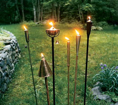 tiki torches for outdoor mood lighting