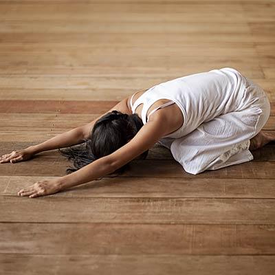 "child's pose or ""balasana""  yoga poses for nonflexible"