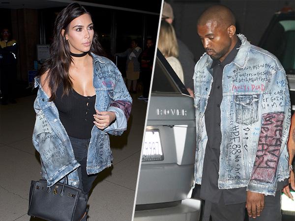 Kim Kardashian Kanye West jean jacket