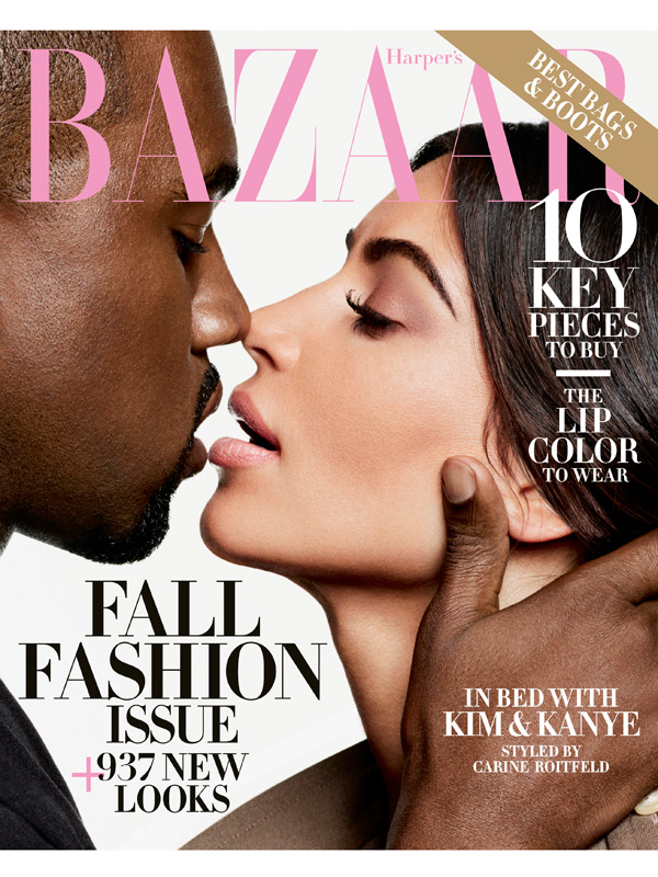 Kim and Kanye West on Harper's Bazaar September 2016 cover