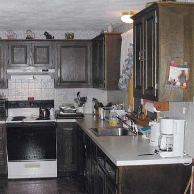 Before Photo Of Kitchen With Dark Wood Cabinets Inset John Dee Sanding A Cabinet
